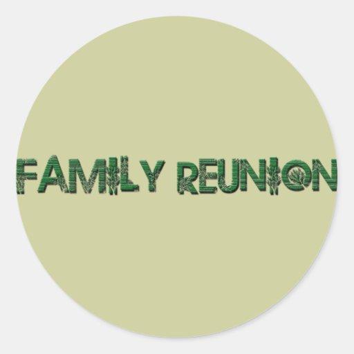 FAMILY REUNION TREE TEXT CLASSIC ROUND STICKER