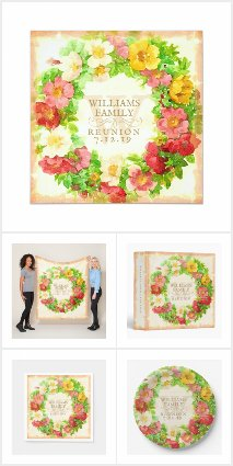 Family Reunion Watercolor Floral Wreath