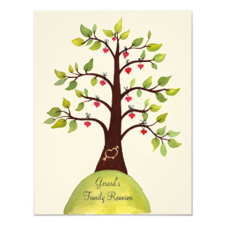 Family Reunion Watercolor Heart Tree Invite