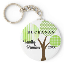 Family Reunion Whimsical Tree Dated Souvenir Gift Keychain