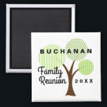 """Family Reunion Whimsical Tree Souvenir Gift Magnet<br><div class=""""desc"""">Our striped,  polka dots and plaid patterned whimsical family tree is the backdrop for your dated,  family reunion souvenir magnet. See more of our Whimsical Family Tree Reunion collection at Genealogy Greetings here at Zazzle. There&#39;s a direct link below.</div>"""