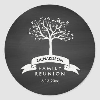 Family Reunion with Chalkboard, Banner and Tree Classic Round Sticker