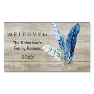Family Reunion Wood Fence Board w Feather Business Card Magnet