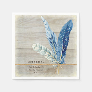 Family Reunion Wood Fence Board w Feather Standard Cocktail Napkin