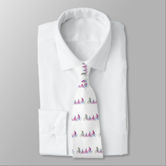 Family riding bicycle neck tie