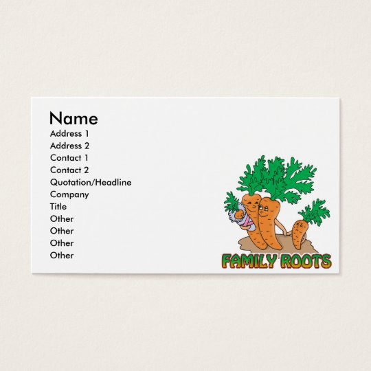 family roots cute carrot family cartoon business card