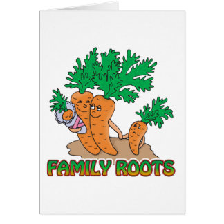 family roots cute carrot family cartoon card