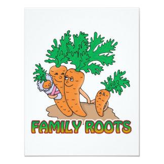 """family roots cute carrot family cartoon 4.25"""" x 5.5"""" invitation card"""