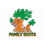 family roots cute carrot family cartoon postcard
