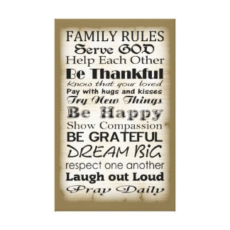 Family Rules God Gallery Wrapped Canvas