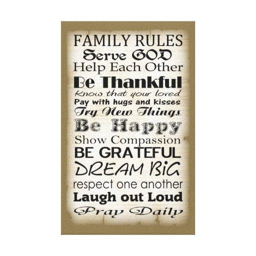 Family Rules God Canvas Print