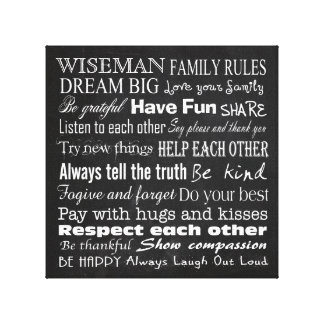 Family Rules Last Name 10x10 Wrapped Canvas