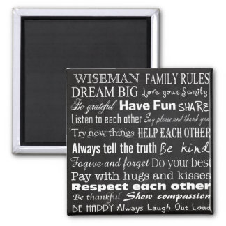 Family Rules Last Name Personalized Custom Magnet