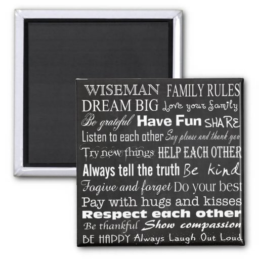 Family rules last name personalized custom magnet zazzle for Personalized last name university shirts