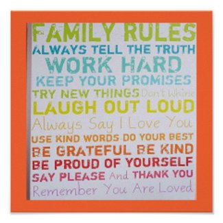 FAMILY RULES POSTER MOD ART