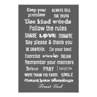 Family rules wall hanging poster