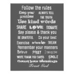 Family rules wall hanging print
