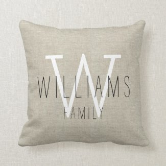 Family Rustic Linen Monogrammed Throw Pillow