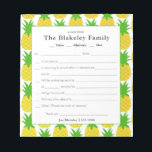 """Family School Excuse Pineapple Personalized Notepad<br><div class=""""desc"""">A great note pad for those busy school mornings-featuring cheerful pineapples and a fill in the blank style note.  Fill in your information on the template-personalize with your family name and children&#39;s names too.  Add your contact information at the bottom.</div>"""