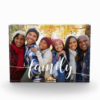 Family Script Overlay Photo Block