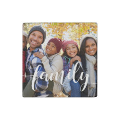 Family Script Overlay Photo Stone Magnet at Zazzle