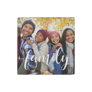 Family Script Overlay Photo Stone Magnet