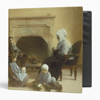 Family seated around a hearth binder