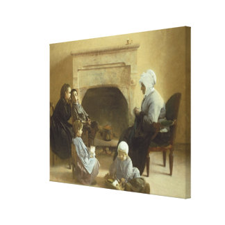 Family seated around a hearth canvas print