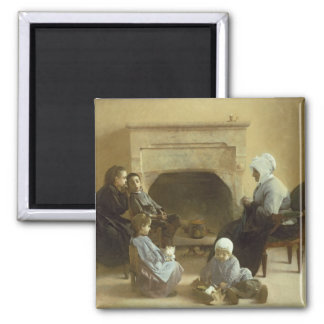 Family seated around a hearth magnet