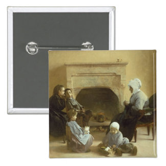 Family seated around a hearth pinback button