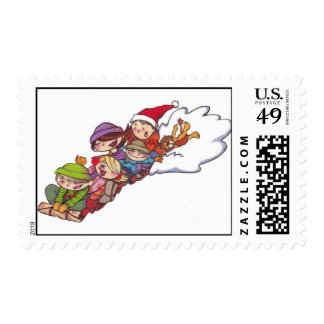 Family Snow Sled Christmas Postage Stamp