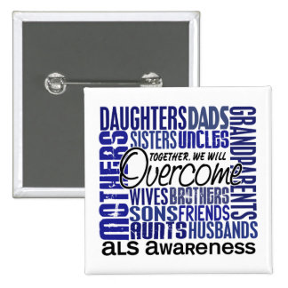 Family Square ALS Pinback Buttons