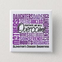 Family Square Alzheimer's Disease Pinback Button