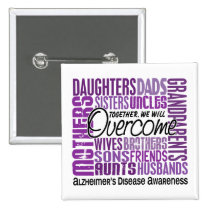 Family Square Alzheimer's Disease Pinback Button