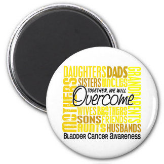 Family Square Bladder Cancer 2 Inch Round Magnet