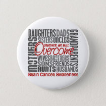 Family Square Brain Cancer Pinback Button