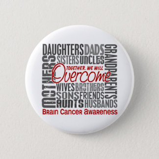 Family Square Brain Cancer Pinback Button
