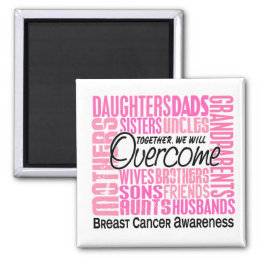 Family Square Breast Cancer Magnet