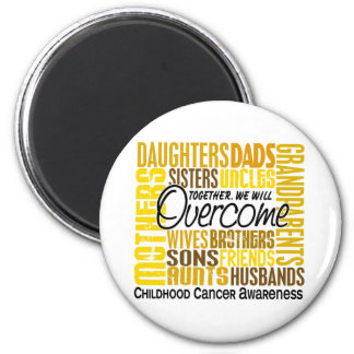Family Square Childhood Cancer 2 Inch Round Magnet