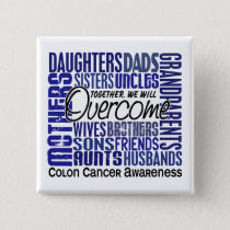 Family Square Colon Cancer Button