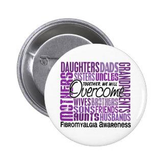 Family Square Fibromyalgia Pinback Button