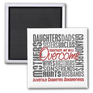 Family Square Juvenile Diabetes 2 Inch Square Magnet