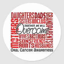 Family Square Oral Cancer Classic Round Sticker
