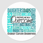 Family Square Ovarian Cancer Classic Round Sticker