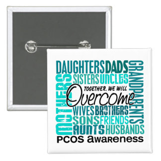 Family Square PCOS Pinback Buttons