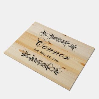 Family Surname Faux Natural Wood Doormat    Zazzle
