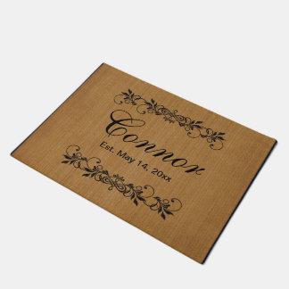 Family Surname Tan Burlap Doormat    Zazzle