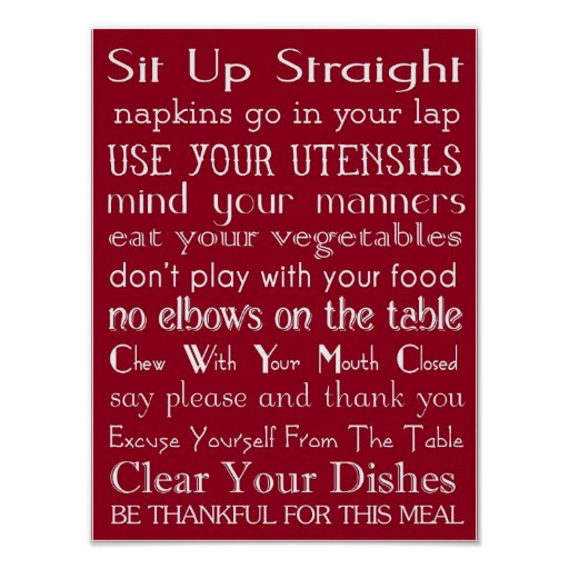 Family Table Rules Poster