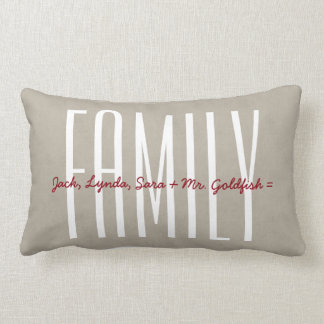 FAMILY Text Design TAN Custom Sentiment A04A Lumbar Pillow