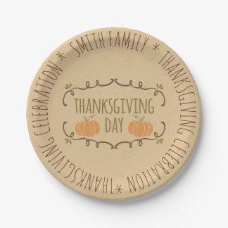 Family.  Thanksgiving Celebration. Custom. Paper Plate